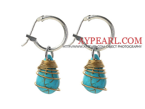 New Design Teardrop Shape Turquoise Wire Wrapped Earrings