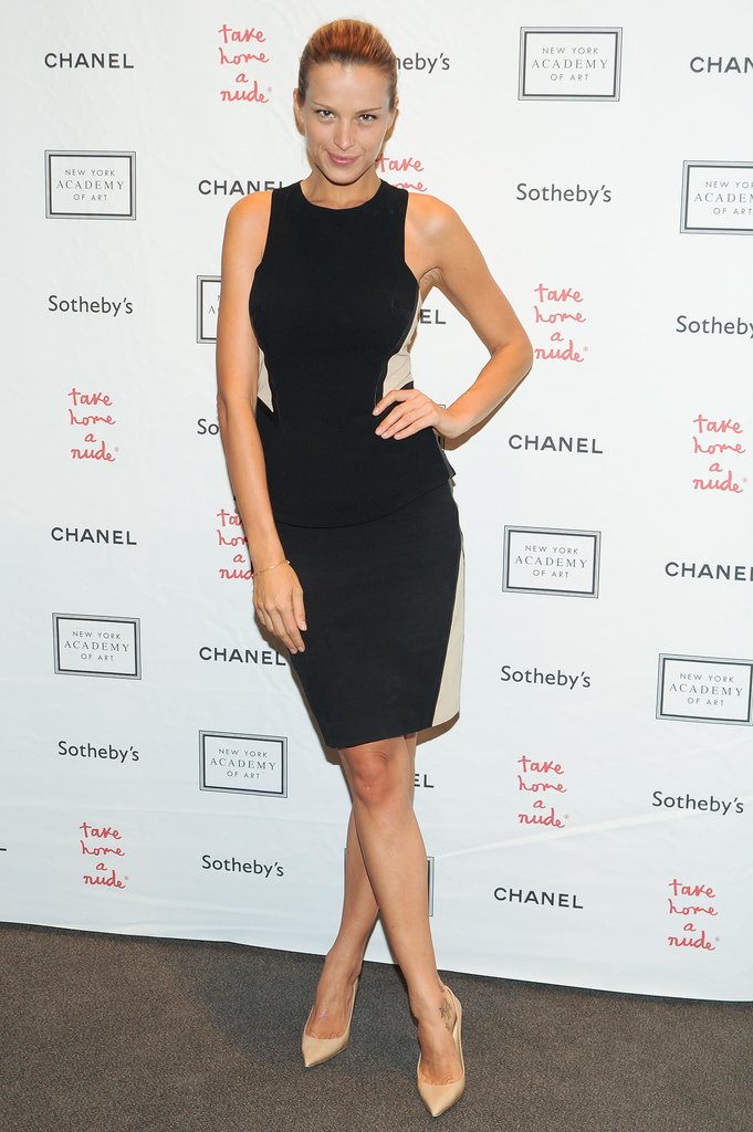 Petra Nemcova worked her curves in a contoured LBD at Sotheby's Take Home a Nude event.