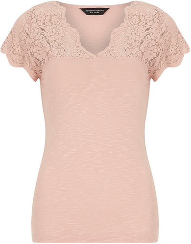 Nude scallop lace tee