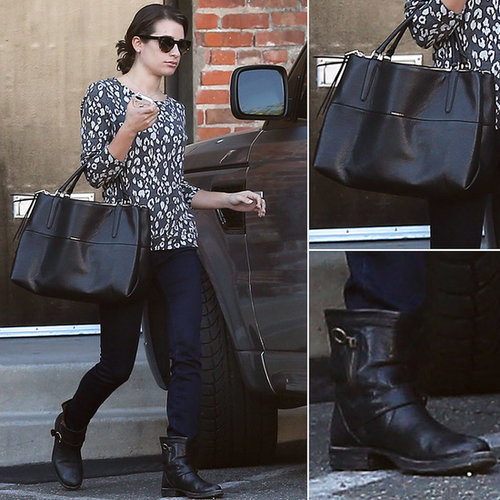 Lea Michele Leopard Sweater and Coach Bag