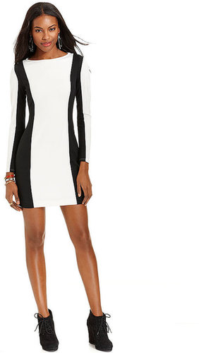 Bar III Dress, Long-Sleeve Boatneck Colorblocked Mini