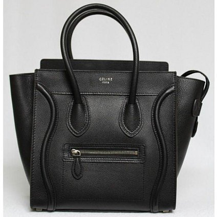 pristine (PR) Celine Black Pebbled Leather Micro Luggage Tote Bag, Sold Out in Stores