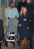 Kim Kardashian and North West supported their main man, Kanye West, when he appeared on Jimmy Kimmel Live in LA.