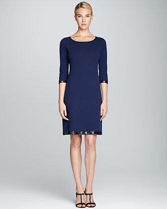 Neiman Marcus Sequin-Trim 3/4-Sleeve Cashmere Dress