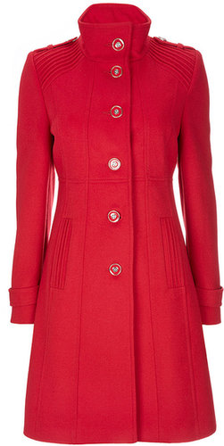 Red Funnel Neck Coat