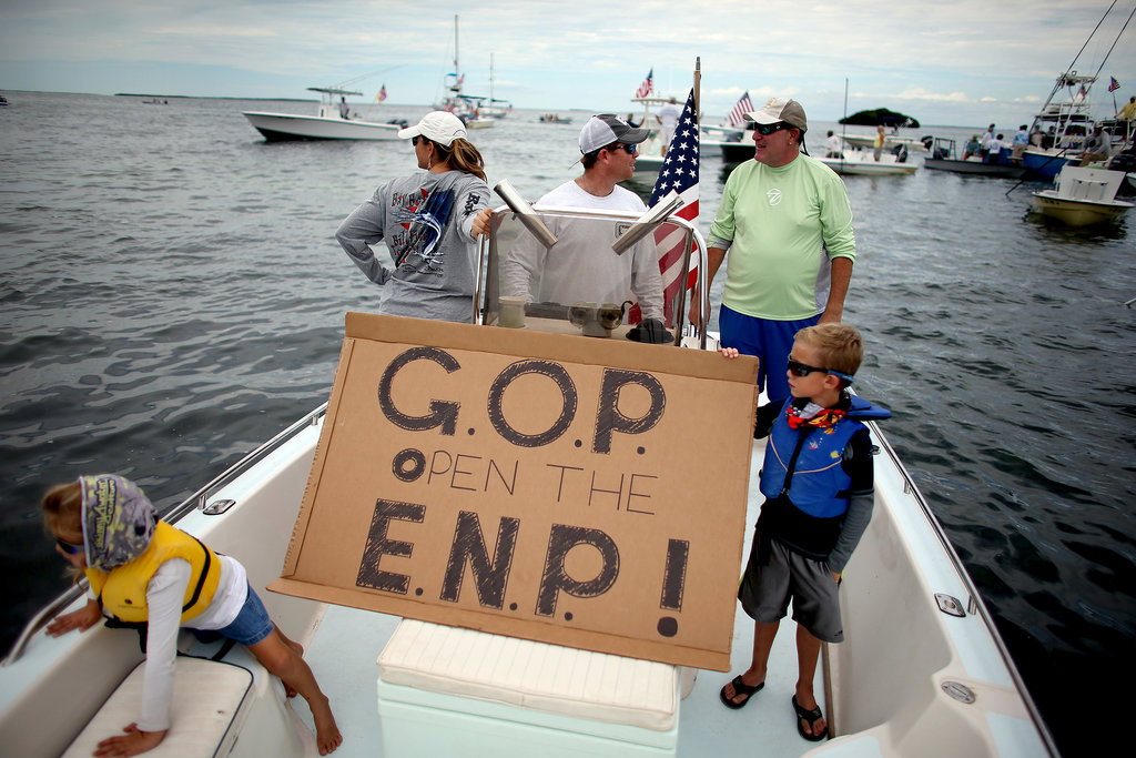 In Islamorada, FL, fishermen participated in a floating protest asking the US government to reopen the Everglades National Park.
