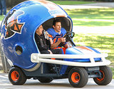 This Looks Totally Normal: Channing Tatum and Jonah Hill Ride in a Giant Football Helmet