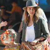 Jessica Alba & Daughters Honor, Haven Warren; Pumpkin Patch