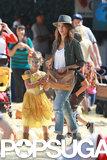 Jessica Alba and Honor Warren walked around the Mr. Bones Pumpkin Patch in LA.