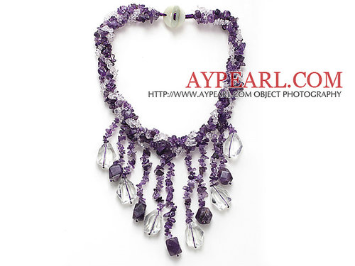 beautiful multi twisted strand amethyst chips and white crystal dangling pendant necklace