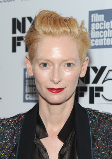 On the Only Lovers Left Alive red carpet, Tilda Swinton accented her signature reddish-blond strands with bold red lipstick.