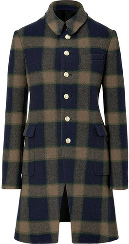 Joseph Navy/Olive Checked Wool Coat