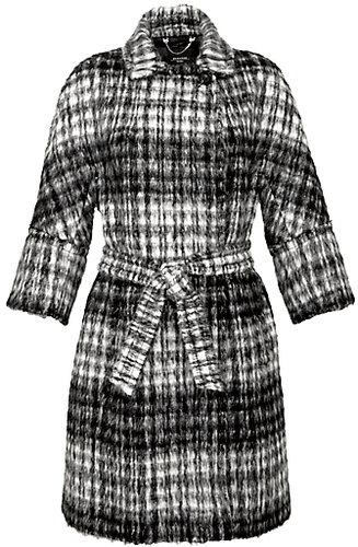 Weekend by MaxMara Check Mohair Blend Coat, Black