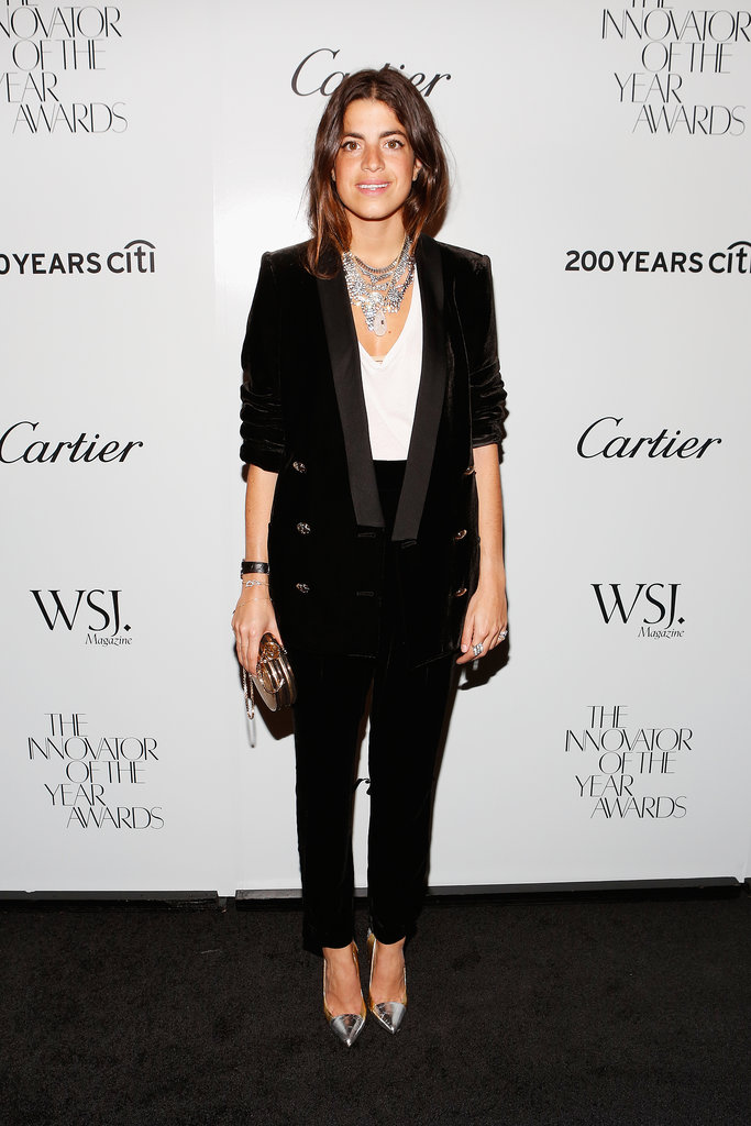 Blogger Leandra Medine paired silver accessories with a black suit at WSJ. Magazine's Innovator of the Year Awards.