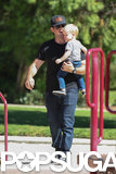 Mike Comrie had a playdate on Friday at a park in LA with his son, Luca.