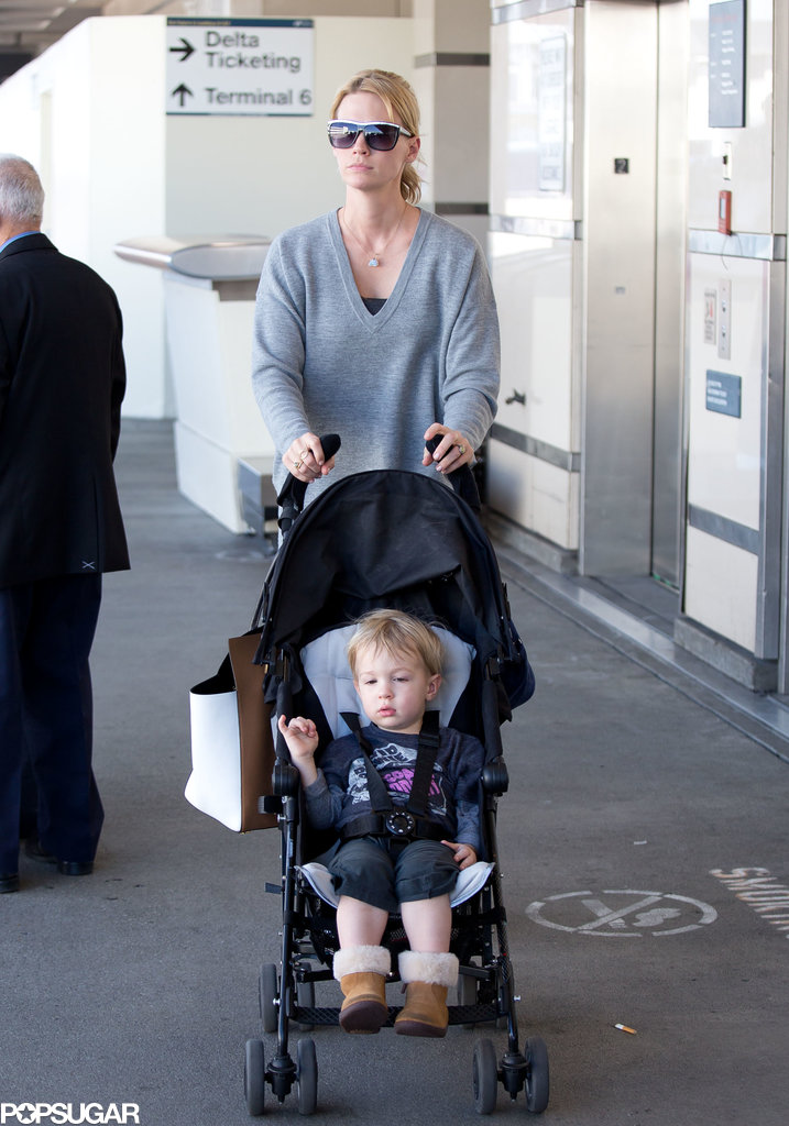 January Jones arrived at LAX with her son, Xander.