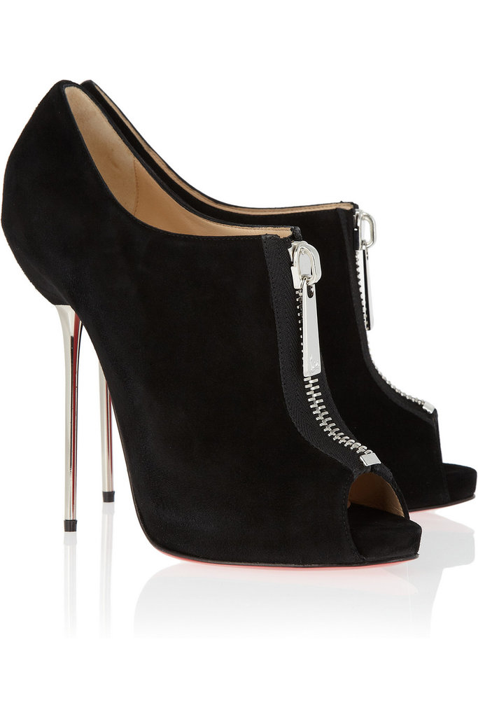 Christian Louboutin Zipito Suede Peep-Toe Ankle Boots ($547 on sale)