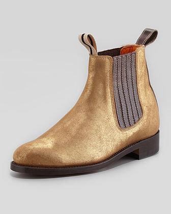 Penelope Chilvers Metallic Double-Loop Chelsea Boot