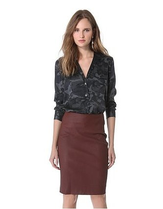 Obsessed with camo but unsure about how to bring it into the workplace? Try a subtle and sleek button-up ($194, originally $258) from Equipment.