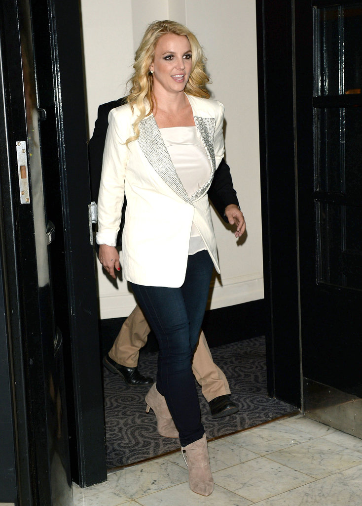 Britney Spears headed toward a double-decker bus in London.