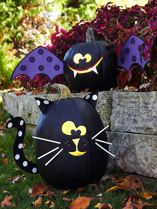 Black Cat and Bat Pumpkins
