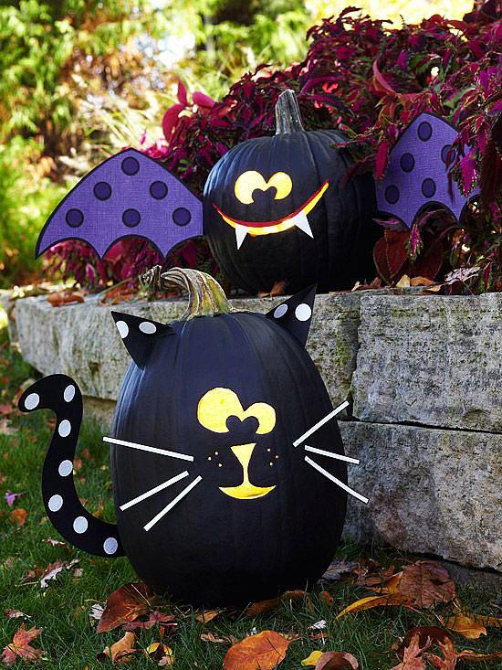 Black Cat and Bat Pumpkins