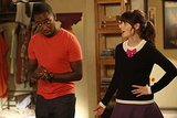 New Girl Winston (Lamourne Morris) and Jess (Zooey Deschanel) on New Girl's Halloween episode.