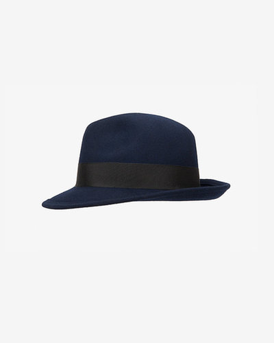 Hat Attack Classic Black Trim Fedora: Navy