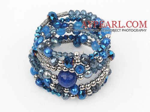2013 Sprng Design Dark Blue Series Pearl Crystal and Blue Agate Wrap Bangle Bracelet
