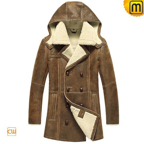 Sheepskin Coat with Hood for Men CW878159