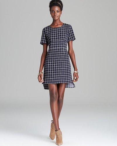 Aqua Dress - Window Pane High Low