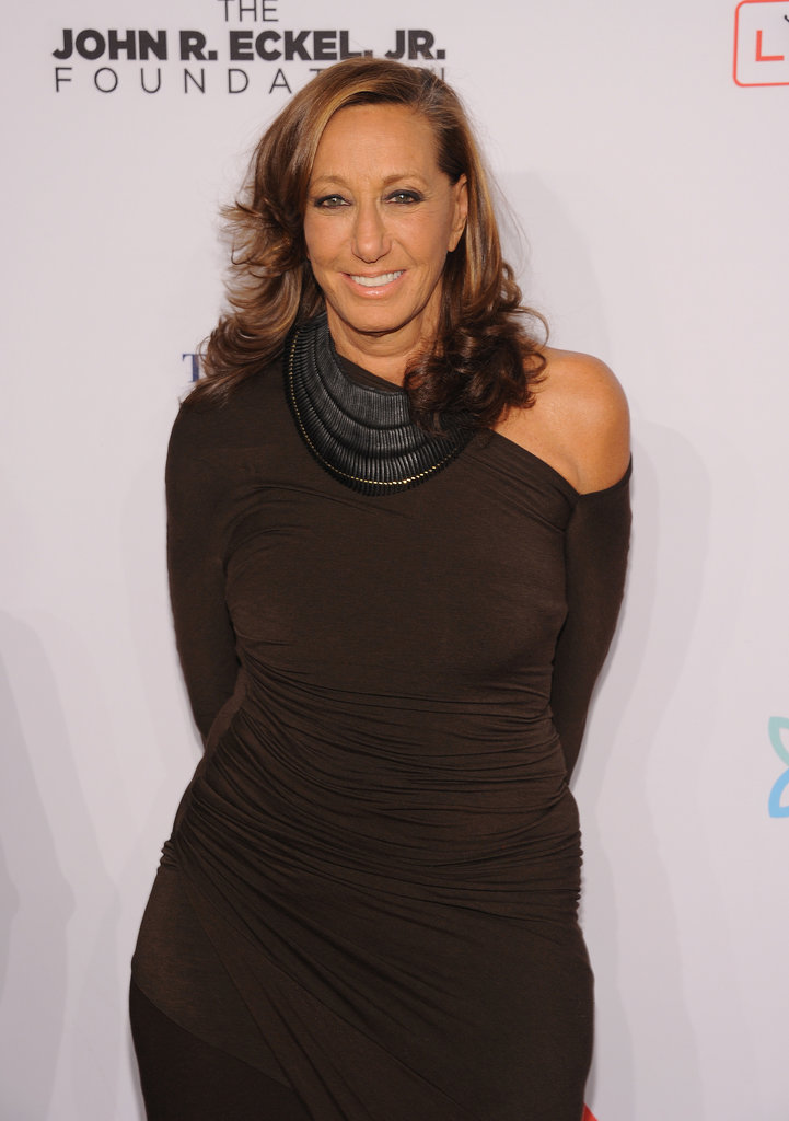 Donna Karan joined the Elton John AIDS Foundation in an asymmetric sheath.
