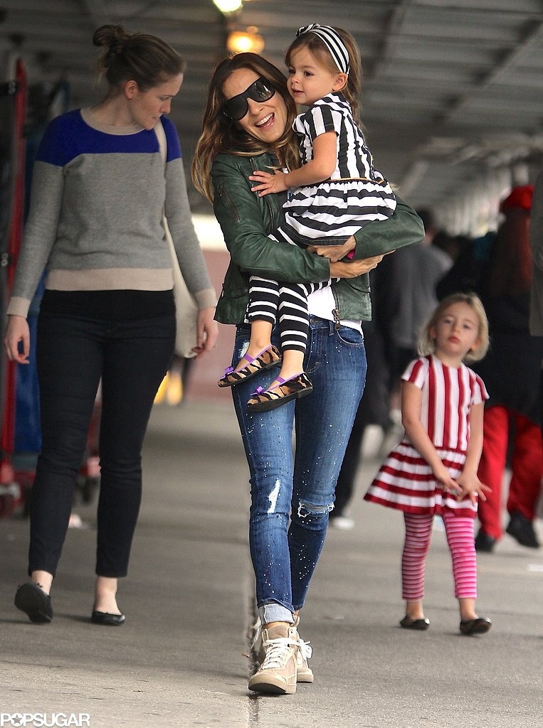 Sarah Jessica Parker held on to little Tabitha during the group's morning stroll.