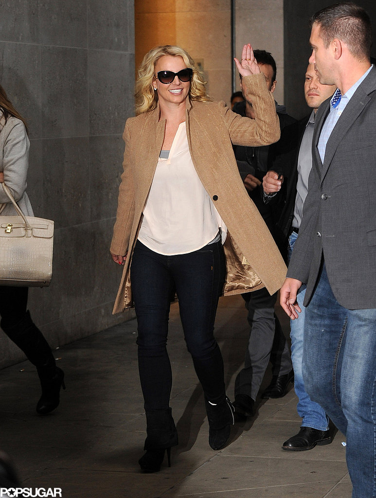 Britney Spears waved to fans while out in London on Wednesday.