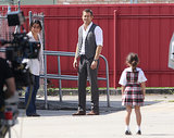 Ryan Reynolds filmed a scene costar Natalie Martinez and a young girl.