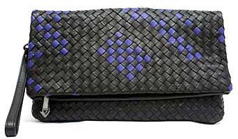 "Christopher Kon ""PL01826"" Black & Cobalt Woven Leather Clutch"