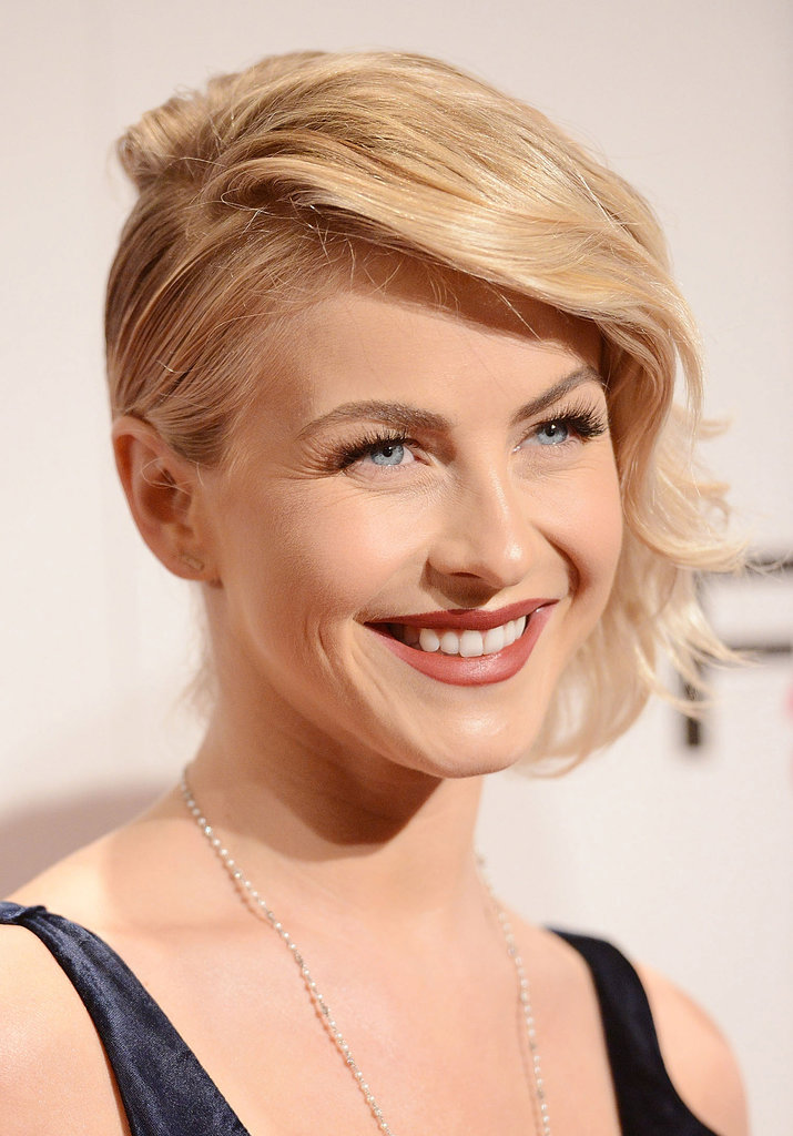 Julianne Hough is always impressing us with the versatility of her short hairstyle. After adding in a deep side part and waves, she pulled the less-heavy side back and pinned it away from her face.
