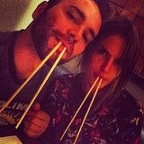 Alessandra Ambrosio and her husband, Noah Mazur, got silly with chopsticks during a night out. Source: Instagram user alessandraambrosio