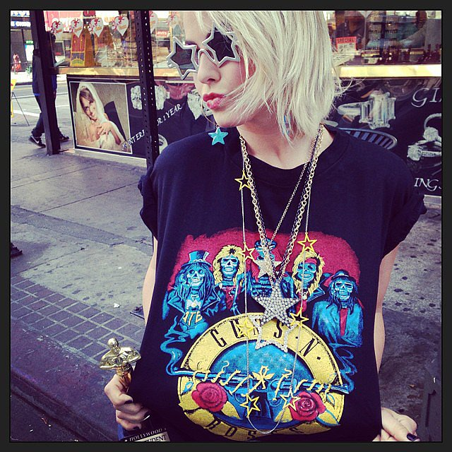 Julianne Hough sported a Guns N' Roses tee and star-shaped shades. Source: Instagram user juleshough