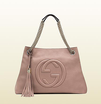Soho Medium Light Pink Leather Tote With Chain Straps