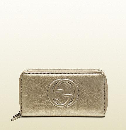 Soho Metallic Leather Double Zip-Around Wallet