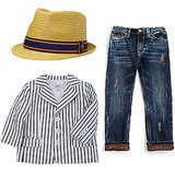 Give your kid the same preppy-cool look with a fashionable fedora ($21, originally $30), distressed jeans ($119), and a striped blazer ($59, originally $98) that will each go with different pieces in his closet.