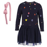 Get your little lady ready for all the festive occasions with a just-as-fun  embellished navy dress ($99) and sweet pink headband ($14).