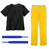Corduroy makes these yellow pants ($55) appropriate for the season, and there's no way you'll go wrong when you invest in a solid black shirt ($6, originally $12) for your handsome guy. Adorn his shoes with bright laces ($7) for another fun touch.