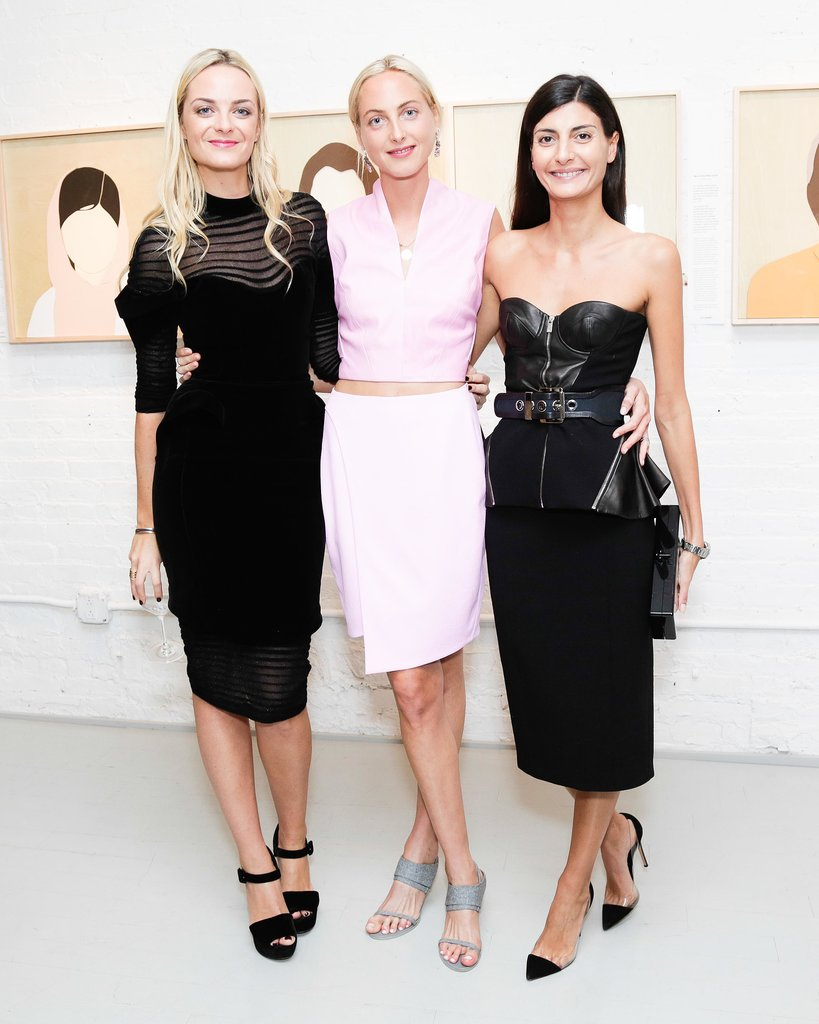 Giovanna Battaglia stepped out in Michael Kors's bustier and joined Virgine Courtin-Clarins and Claire Courtin-Clarins at the opening reception for Faces of Change.
