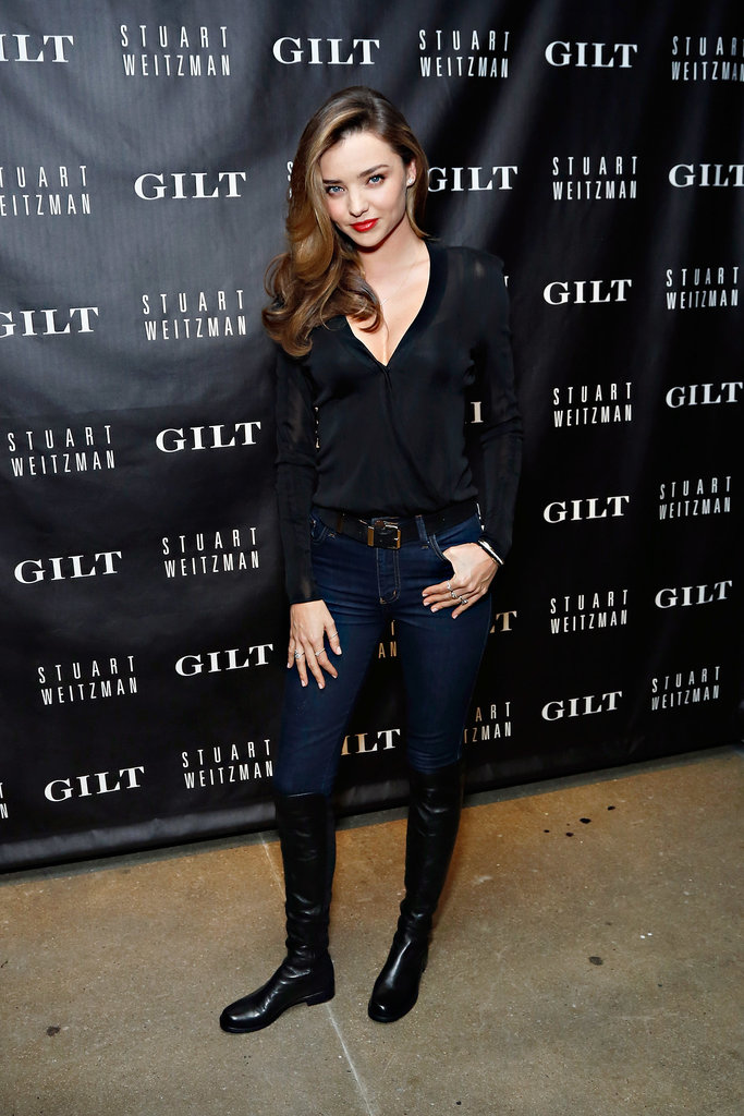 Miranda Kerr stepped out in Stuart Weitzman flats at the Gilt 20th anniversary celebration for the 5050 boot.