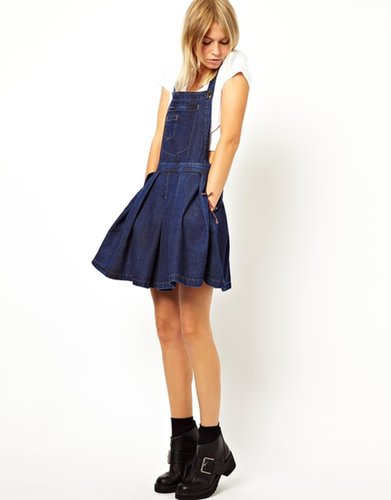 ASOS Denim Pinafore Dress with Pleated Skirt in Dark Wash