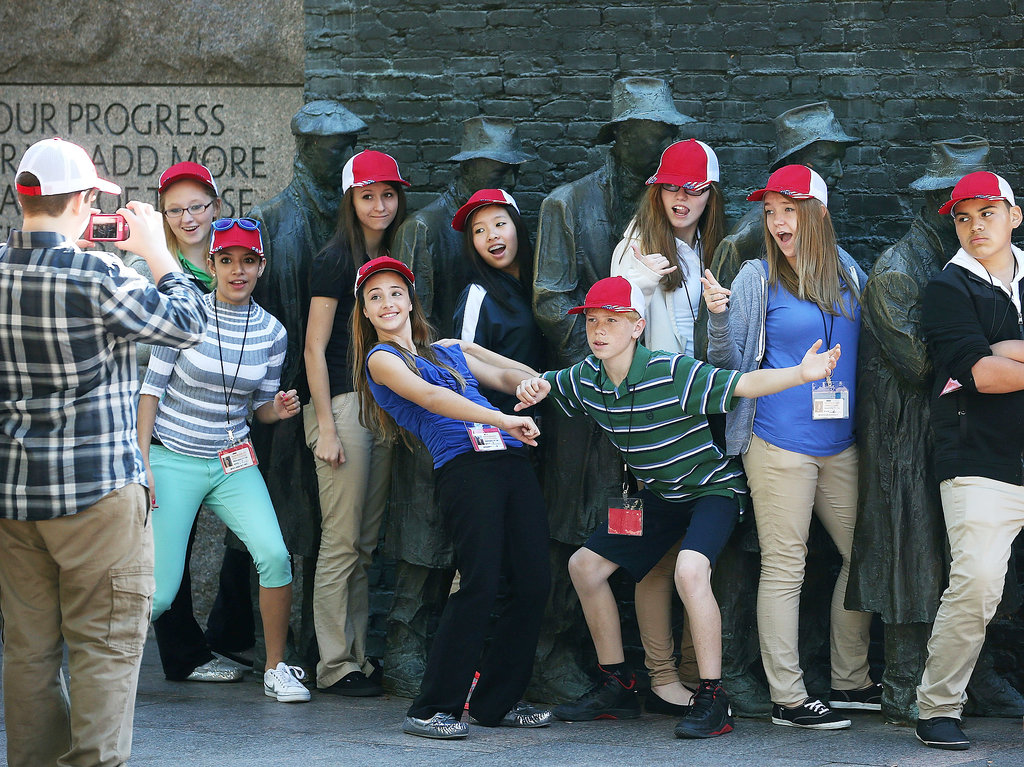Eighth graders from Ohio posed at the reopened FDR memorial.