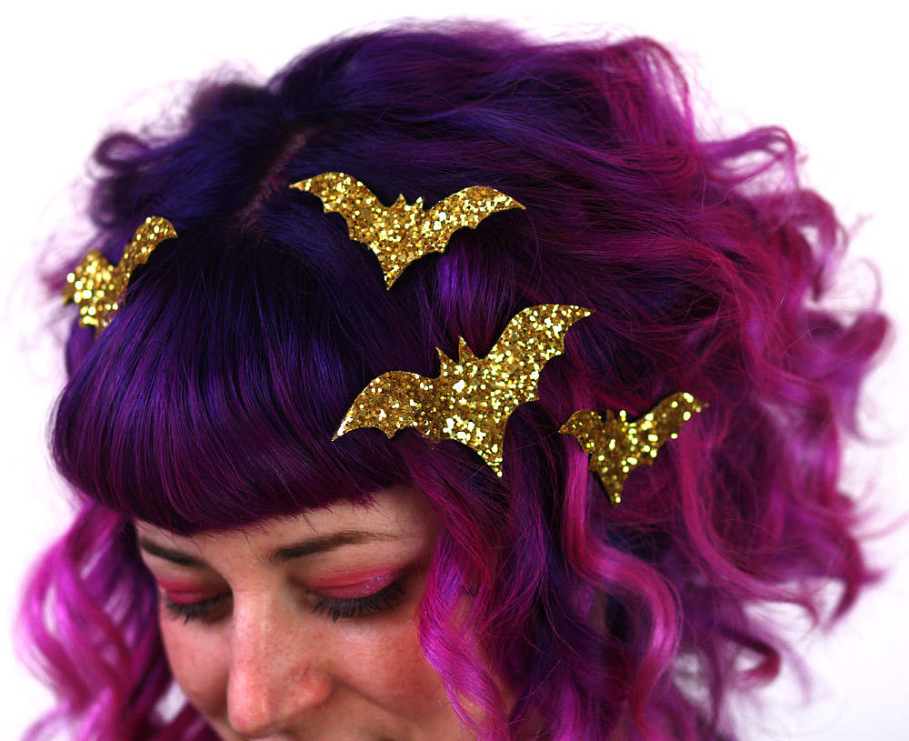 Get batty Halloween night with these sparkling hair clips ($32)! Plus, they come in a rainbow of shades to match any look.