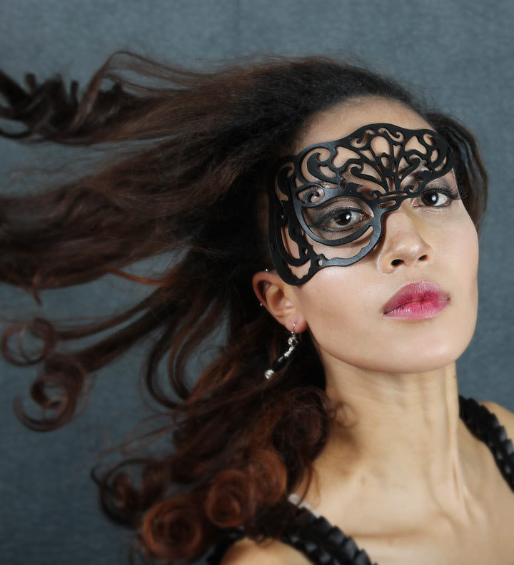 Elevate any costume with a leather cutout half-mask ($32).